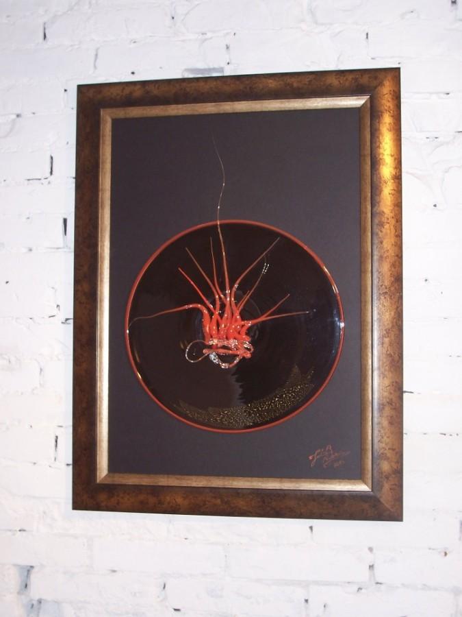 obsesie tablou sticla suflat si lucrat manual,Dimensiuni80×50cm