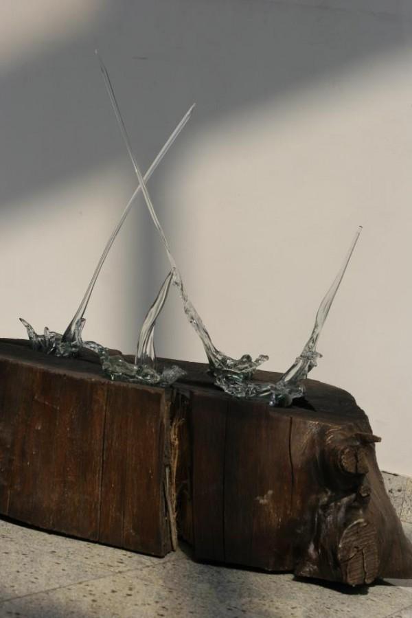 ploie-de-toamnaTehnic-sticla-lucrata-manual-si-lemn-sculptat-dim-H100-70x30