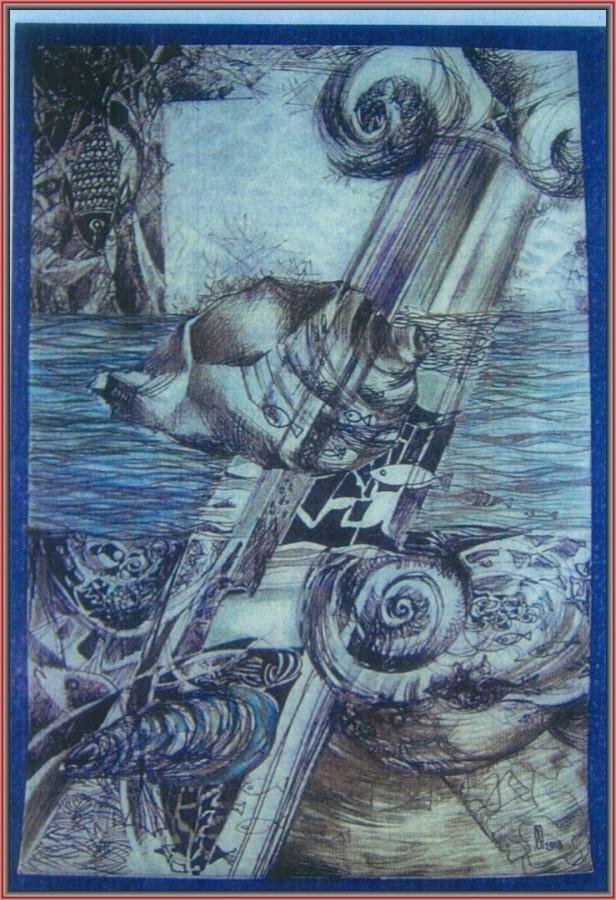Coloana grecească- tuș pe hârtie, 21x29.7cm, 2012