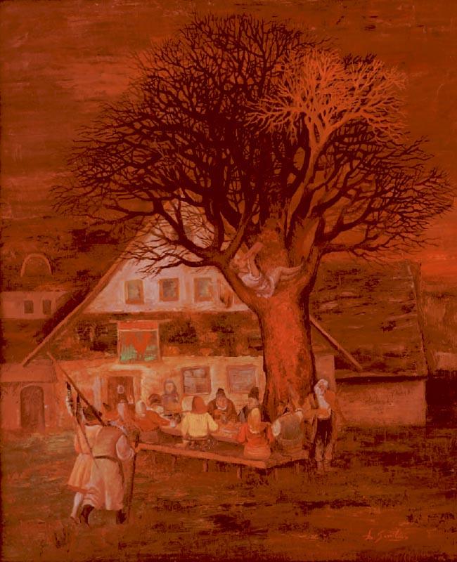 DIMITRIE GAVRILEAN - Pelerinii  ulei pe panza  60x50 cm