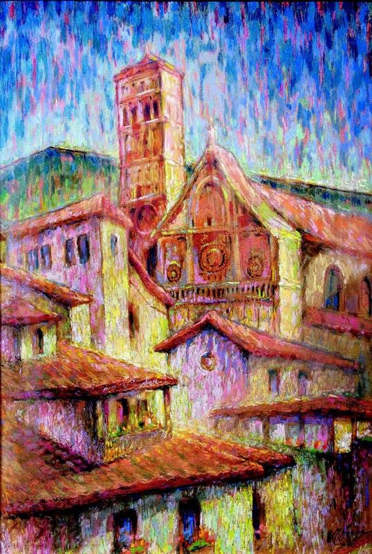 EUGEN STEFAN BOUSCA - Assisi II ceracolor pe placaj  62x43 cm 1975