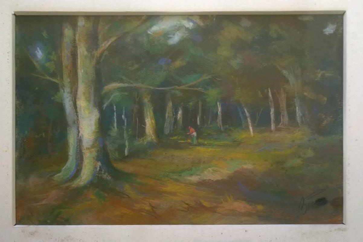 Petrache Bicer - In padure -pastelcarton 1986 - 40x60