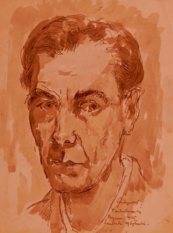 V.M. CRAIU - Autoportret, tehnica mixta, 23x18, 1945