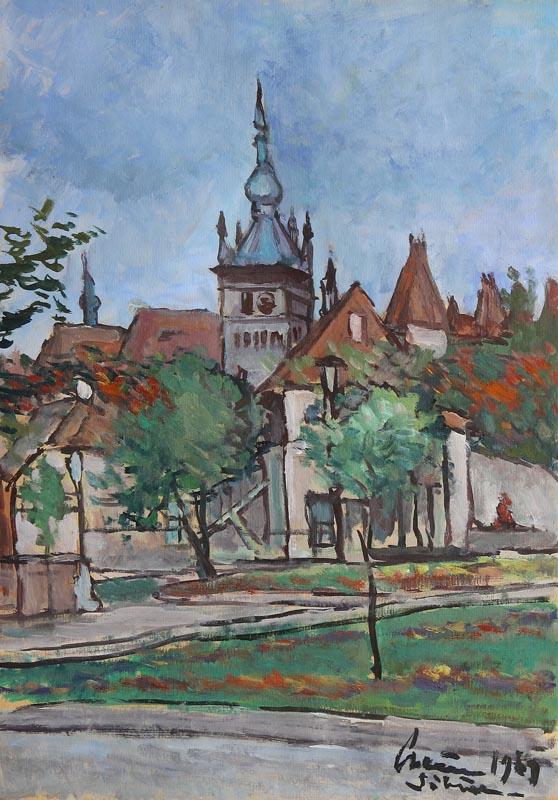 V.M.CRAIU - Vedere din Sibiu  ulei pe carton  50x35 cm 1969