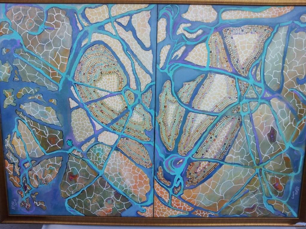 Arabescurile vietii  Diptic 70x100cm acrilic pe panza