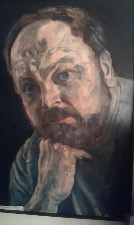 Autoportret in albastru 100x70cm Ulei pe panza