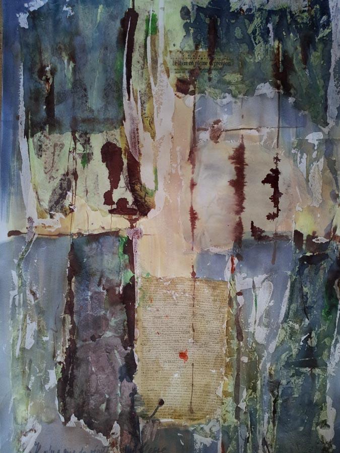 Palimpsest I (La depression du livre),Tehnica mixa pe  carton ,100x70 cm,2015
