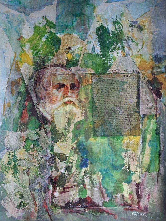 Palimpsest II (Fur Mein Vater),tehnica mixta pe  carton,100x70 cm,2015,