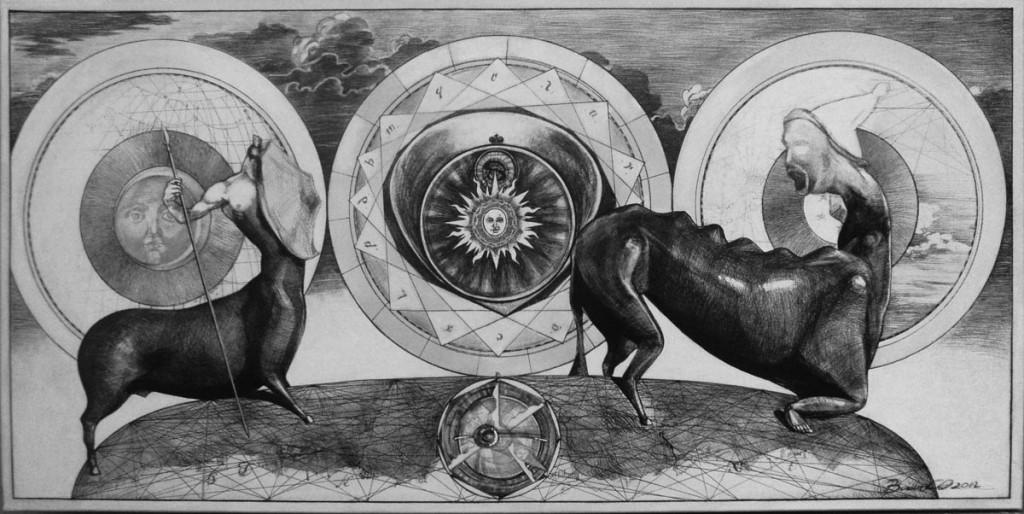 Spiritus anima et corpus 2011, 100cm50cm, liner negru pe panza plus acrilic